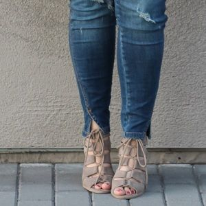Shoes - Taupe Lace-Up Heeled Sandals